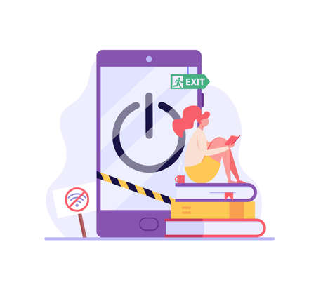 Woman reading a book without gadgets. Concept of digital detox, disconnecting, abandoning internet, device free zone, internet addiction, no mobile. Vector illustration in flat design.