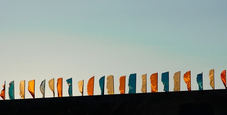 Flags developing on a wind photo