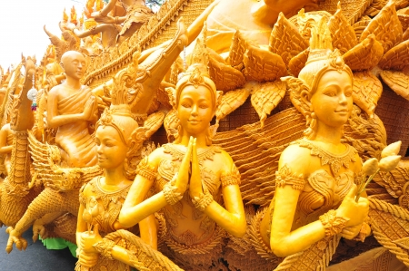 Wax  Sculpture, Candle  Sculpture of candle festival in Thailand 版權商用圖片