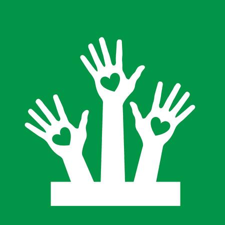 Hands up volunteer icon green background Illustration