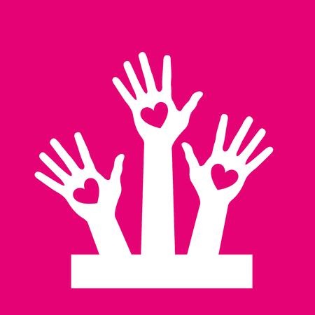 Hands up volunteer icon deep pink background