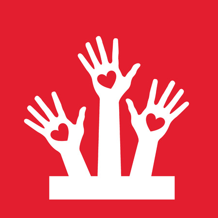 Hands up volunteer icon red background