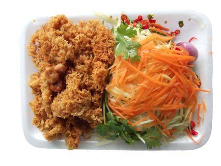 Crispy catfish salad with green mango and carrot