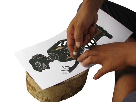 Training make shadow play puppet step to cut off paper photo