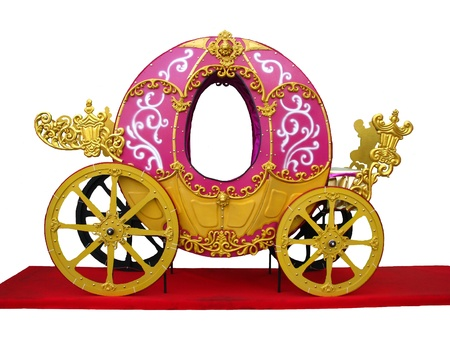 Pumpkin carriage for Cinderella or Halloween isolated over white background Stock Photo