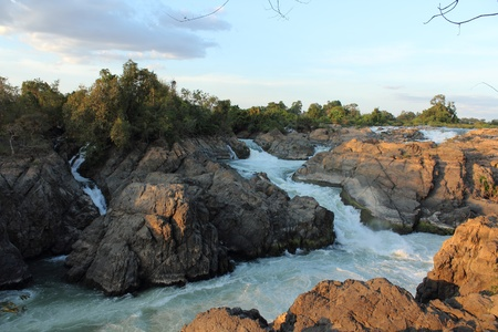 Donekhone Somphamit Waterfall or Li Phi Waterfall on Donekhone in 4,000 island, Champasak Province, Southern of Laos