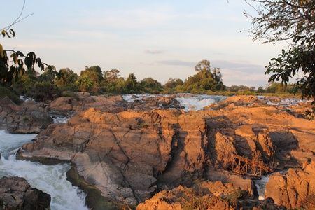 Donekhone Somphamit Waterfall or Li Phi Waterfall on Donekhone in 4,000 island, Champasak Province, Southern of Laos Stock Photo - 8833783