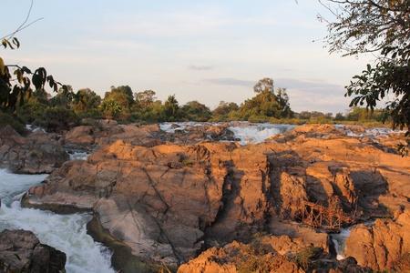 Donekhone Somphamit Waterfall or Li Phi Waterfall on Donekhone in 4,000 island, Champasak Province, Southern of Laos Stock Photo - 8833783