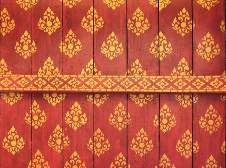 Decorated ceiling of temple in Champasak Province, Laos photo