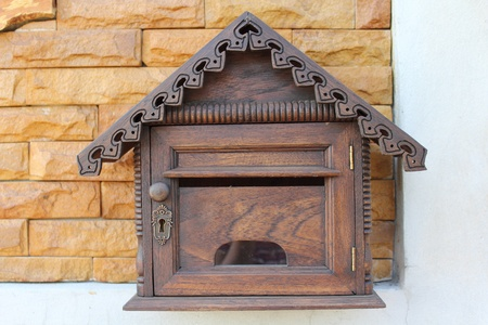 Wood mailbox or letter box on brick house Stock Photo - 8967513