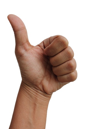 Thump Up Gesture (Expressing Satisfaction, Approvement, Success) Stock Photo