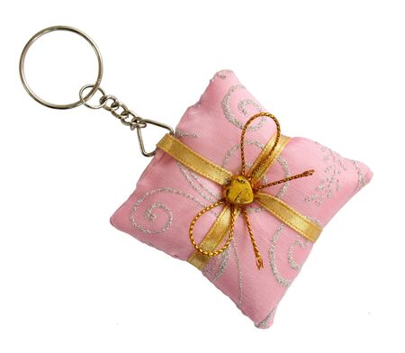 Key ring pink pillow shape with gold bow photo