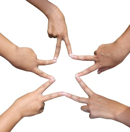 Hands in the form of a star on white background