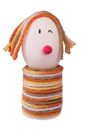 Elaborate easter egg decorate with knitting wool Stock Photo - 9138500