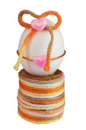 Elaborate easter egg decorate with knitting wool Stock Photo - 9138501