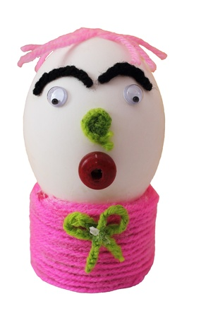 Elaborate easter egg decorate with knitting wool Stock Photo - 9138512