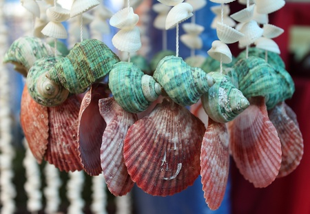 Handicrafts mobile from tropical seashells for sell at Thailand Stock Photo