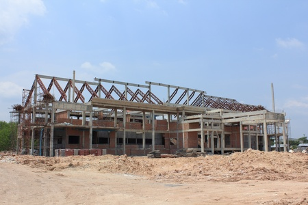 Construction work site of office building