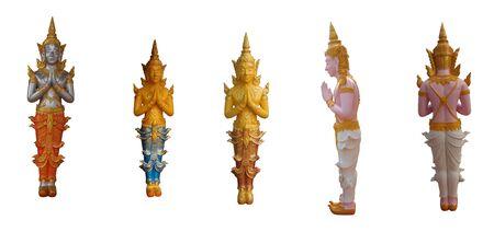 Thai model of Buddhas isolated on white background Stock Photo