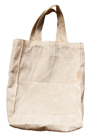 Old brown cotton bag isolated on white background    Stock Photo