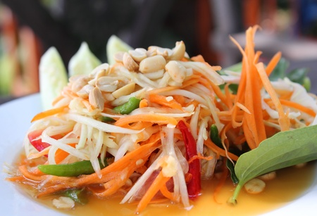 Thai Papaya salad with peanuts and dried shrimp