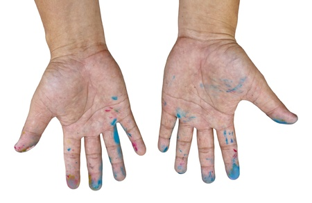 Male open the palm of the hands dirty with ink color photo