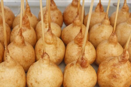 Group of fried ball Thai dessert for sell at market of Thailand Stock Photo