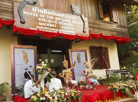 nakhon: Nakhon Si Thammarat, Thailand - August 03, 2011: Old man dance Ma-No-Ra Form of folk-dance at opening Nang Talung Museum, House of The National Artist, Suchart Subsin Editorial