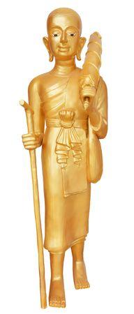 peregrinación: Imagen de la estatua de Buda peregrinaci�n aislada sobre fondo blanco