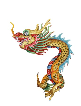 Colorful dragon statue in native Chinese style isolated on white background Stock Photo - 10846621