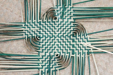 Basket weaving on reed mat Thai handmade Archivio Fotografico