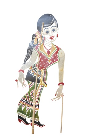 Main actress of Nang Talung or Thai shadow play, Traditional Thai performances, Shadow theatre in the south of Thailand called Nang Talung, Nang Talung puppets are normally made of cowhide photo