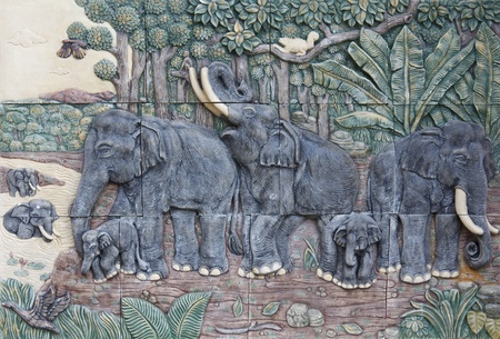 Thai elephant sculptures use for decorate wall in Thailand Stock Photo - 11308571