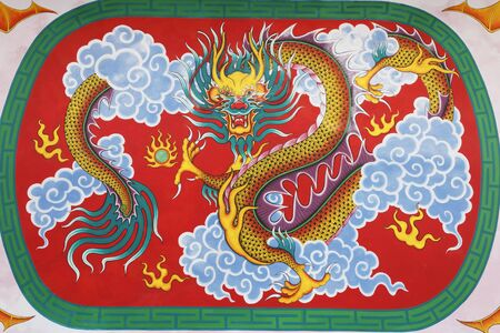 generality: Painted scene of Chinese dragon at the ceiling of Chinese temple in Thailand (Generality in Thailand, any kind of art decorated in Buddhist church, temple pavilion, temple hall, monk's house ect. created with money donated by people to hire artist. They Stock Photo