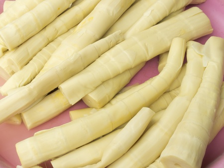 Preserved bamboo shoots for sale in Thailand market Stock Photo
