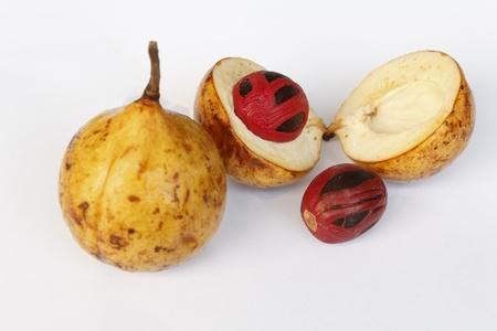 Fresh nutmeg fruit in open shell isolated over white background