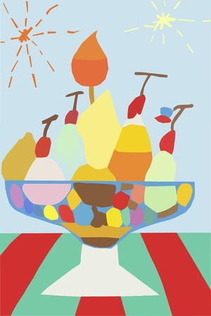 Mix ice cream illustration and painting Vector