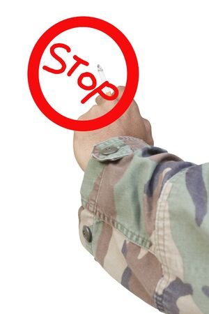 Male hand with cigarette and stop smoke symbol isolated on white photo