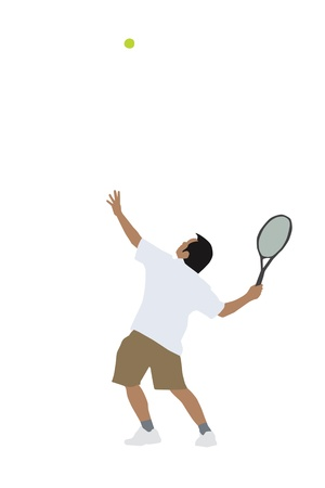 tossing: illustration of tennis player tossing the ball to perform a serve