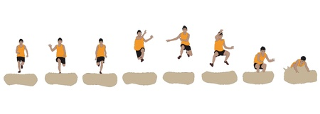 long jump: Vector illustration of long jump player in action
