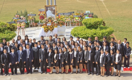 prosecutors: SURAT THANI, THAILAND - AUGUST 07, 2012 : Judges,prosecutors,polices, middlemans and government officers to take a group picture after lay wreaths to the picture of Rapee Pattanasak on Rapee Day Prince Rapee Pattanasak, the father of Thailand.