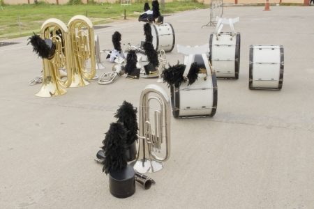 Musical instrument marching band of parade on road photo