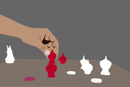 illustration of chess player playing chess make the move Vector