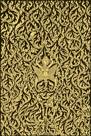 thai art: illustration of Thai angel and art pattern old style