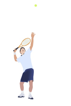 illustration of Thai men tennis player serve tennis ball Vector