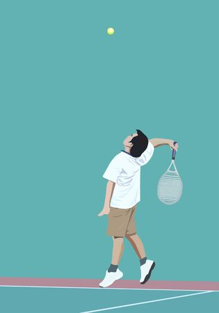 illustration of man tennis player serve tennis ball Vector