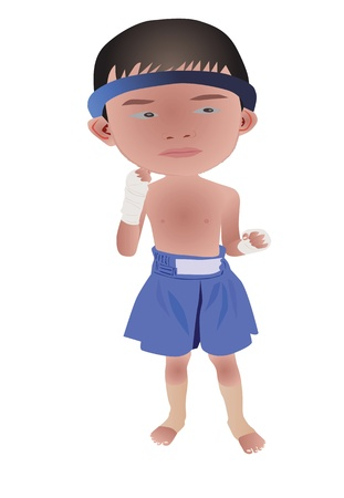 illustration of Muay Thai or Thai boxing boy Vector