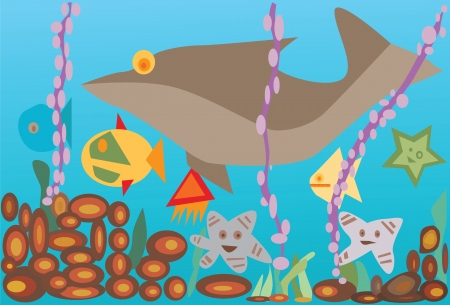 illustration undersea with fishes Stock Vector - 16542943