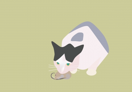 Vector illustration of cat catching a mouse Stock Vector - 16641406