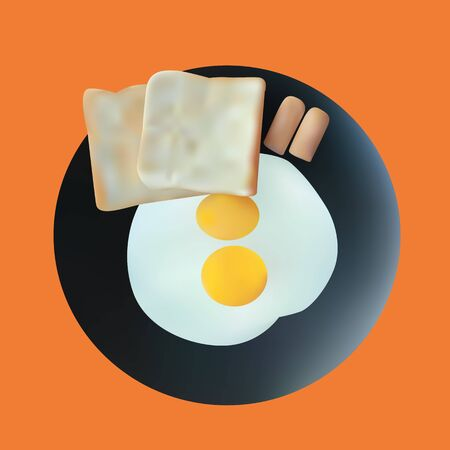 illustration of fried eggs with bread and sausage on plate Vector